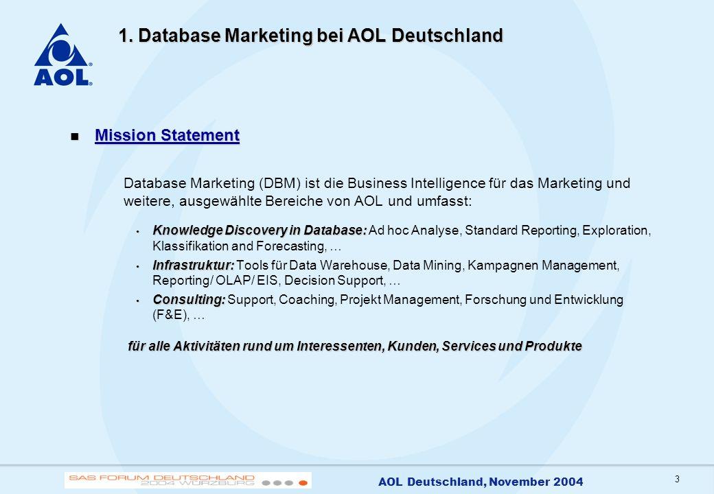 3 AOL Deutschland, November 2004 1. Database Marketing bei AOL Deutschland Mission Statement Mission Statement Database Marketing (DBM) ist die Busine