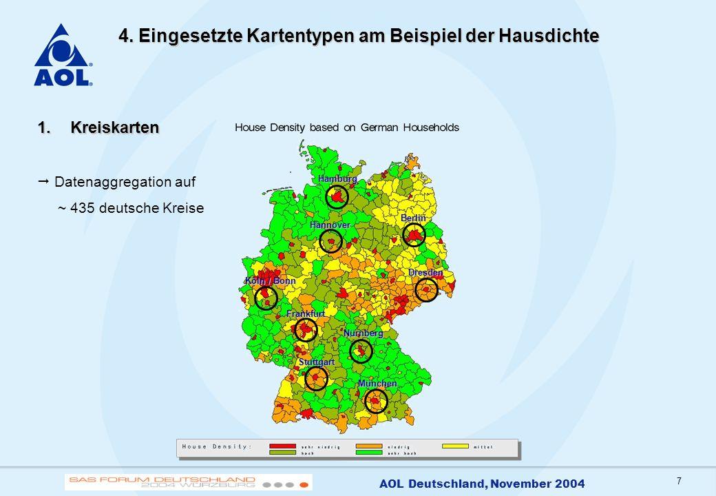 7 AOL Deutschland, November 2004 4. Eingesetzte Kartentypen am Beispiel der Hausdichte 1.Kreiskarten Datenaggregation auf ~ 435 deutsche Kreise Hambur