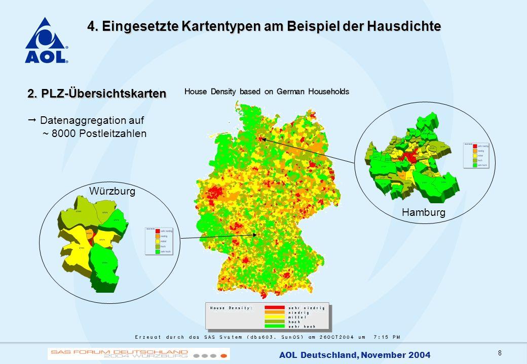 8 AOL Deutschland, November 2004 4. Eingesetzte Kartentypen am Beispiel der Hausdichte 2. PLZ-Übersichtskarten Datenaggregation auf ~ 8000 Postleitzah