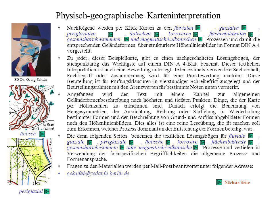 Physisch-geographische Karteninterpretation, magmatisch-vulkanische und flächenbildende Prozesse TK 1:50 000 Eingangsseite Text, Lösungsbogen
