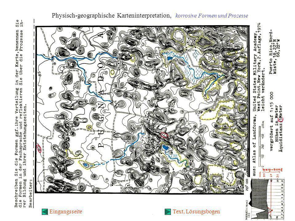 Physisch-geographische Karteninterpretation, korrosive Formen und Prozesse EingangsseiteText, Lösungsbogen