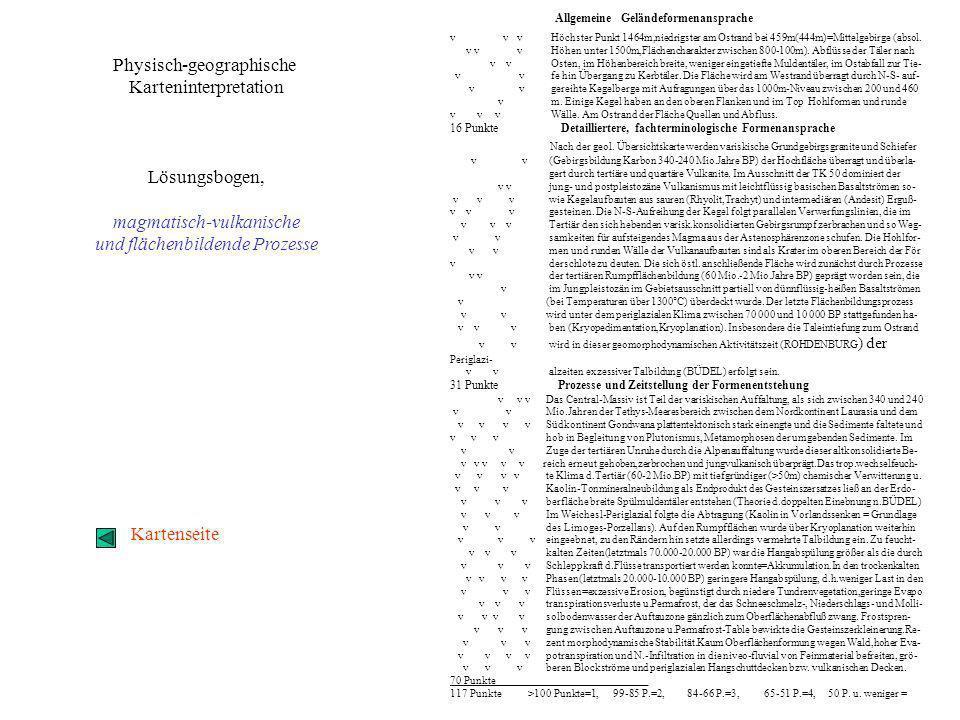 Punktewertung___ _Interpretation der TK 1:50 000, Blatt Puy de Dome im Zusammen- hang mit der geolog.