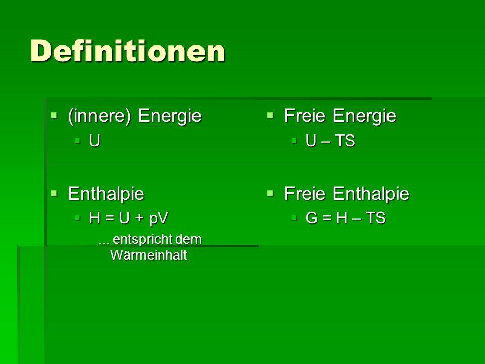 Definitionen (innere) Energie (innere) Energie U Enthalpie Enthalpie H = U + pV H = U + pV... entspricht dem Wärmeinhalt Freie Energie Freie Energie U