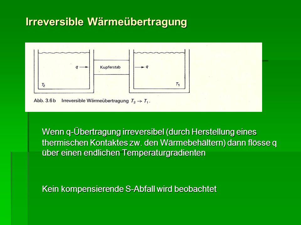 Irreversible Wärmeübertragung Wenn q-Übertragung irreversibel (durch Herstellung eines thermischen Kontaktes zw. den Wärmebehältern) dann flösse q übe