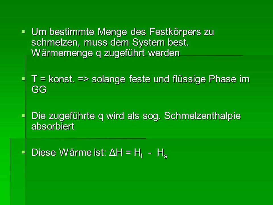 Irreversibler Temperaturausgleich Gesamtsystem isoliert Gesamtsystem isoliert In beiden Teilsystemen gleicher Stoff (in kondensierter Form) In beiden Teilsystemen gleicher Stoff (in kondensierter Form) Vorerst beide Teilsysteme isoliert, dann wird adiabatische Wand entfernt Vorerst beide Teilsysteme isoliert, dann wird adiabatische Wand entfernt