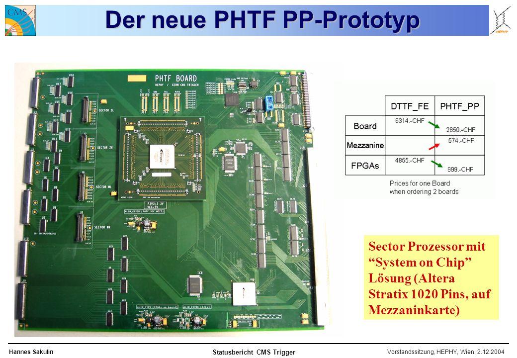Vorstandssitzung, HEPHY, Wien, 2.12.2004Hannes Sakulin Statusbericht CMS Trigger Der neue PHTF PP-Prototyp Sector Prozessor mit System on Chip Lösung (Altera Stratix 1020 Pins, auf Mezzaninkarte)