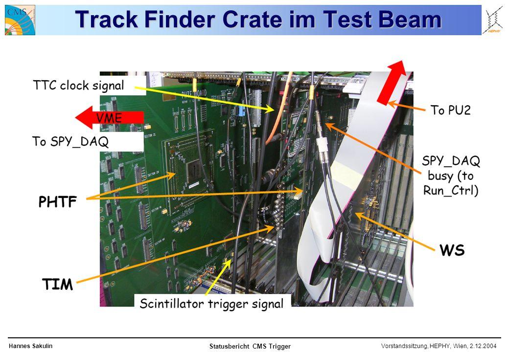 Vorstandssitzung, HEPHY, Wien, 2.12.2004Hannes Sakulin Statusbericht CMS Trigger Track Finder Crate im Test Beam