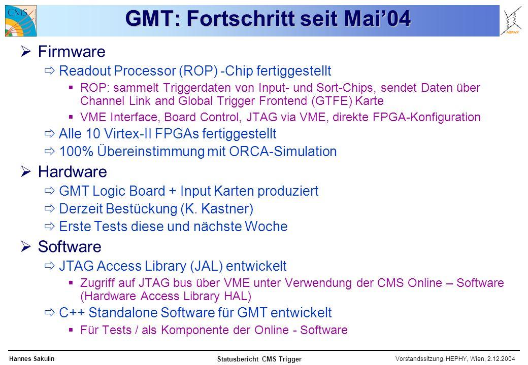 Vorstandssitzung, HEPHY, Wien, 2.12.2004Hannes Sakulin Statusbericht CMS Trigger GMT: Fortschritt seit Mai04 Firmware Readout Processor (ROP) -Chip fertiggestellt ROP: sammelt Triggerdaten von Input- und Sort-Chips, sendet Daten über Channel Link and Global Trigger Frontend (GTFE) Karte VME Interface, Board Control, JTAG via VME, direkte FPGA-Konfiguration Alle 10 Virtex-II FPGAs fertiggestellt 100% Übereinstimmung mit ORCA-Simulation Hardware GMT Logic Board + Input Karten produziert Derzeit Bestückung (K.