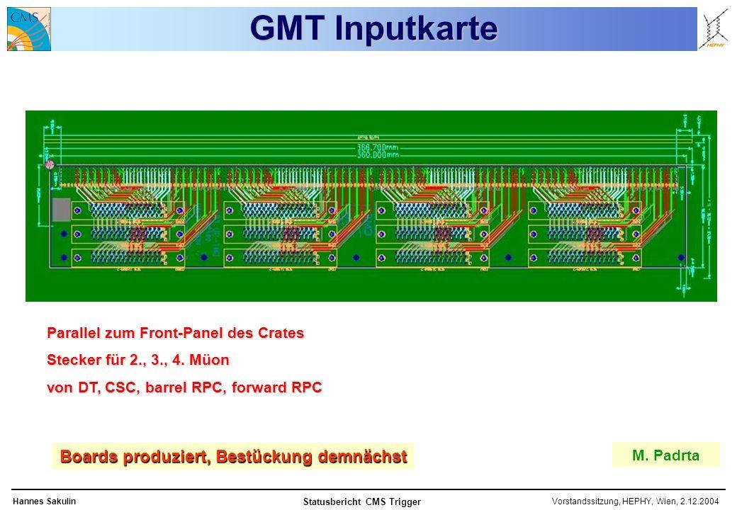Vorstandssitzung, HEPHY, Wien, 2.12.2004Hannes Sakulin Statusbericht CMS Trigger GMT Inputkarte M.