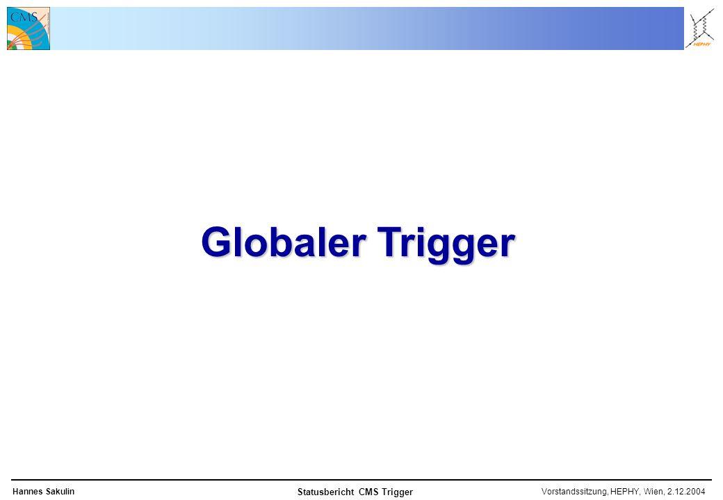Vorstandssitzung, HEPHY, Wien, 2.12.2004Hannes Sakulin Statusbericht CMS Trigger Globaler Trigger