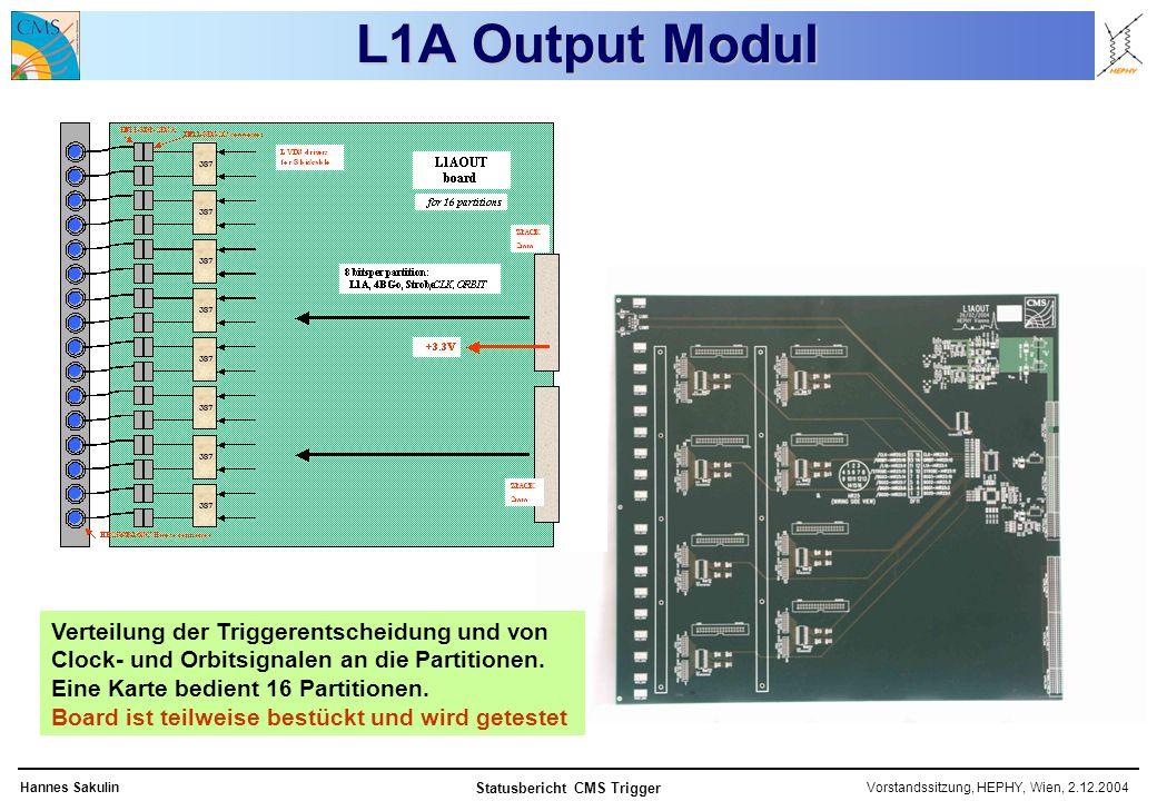 Vorstandssitzung, HEPHY, Wien, 2.12.2004Hannes Sakulin Statusbericht CMS Trigger L1A Output Modul Verteilung der Triggerentscheidung und von Clock- und Orbitsignalen an die Partitionen.