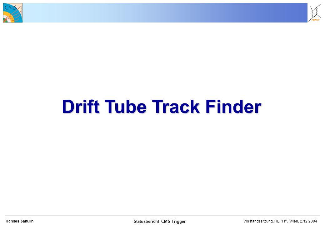 Vorstandssitzung, HEPHY, Wien, 2.12.2004Hannes Sakulin Statusbericht CMS Trigger Drift Tube Track Finder