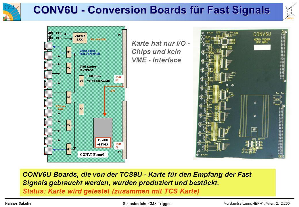 Vorstandssitzung, HEPHY, Wien, 2.12.2004Hannes Sakulin Statusbericht CMS Trigger CONV6U - Conversion Boards für Fast Signals Karte hat nur I/O - Chips und kein VME - Interface CONV6U Boards, die von der TCS9U - Karte für den Empfang der Fast Signals gebraucht werden, wurden produziert und bestückt.