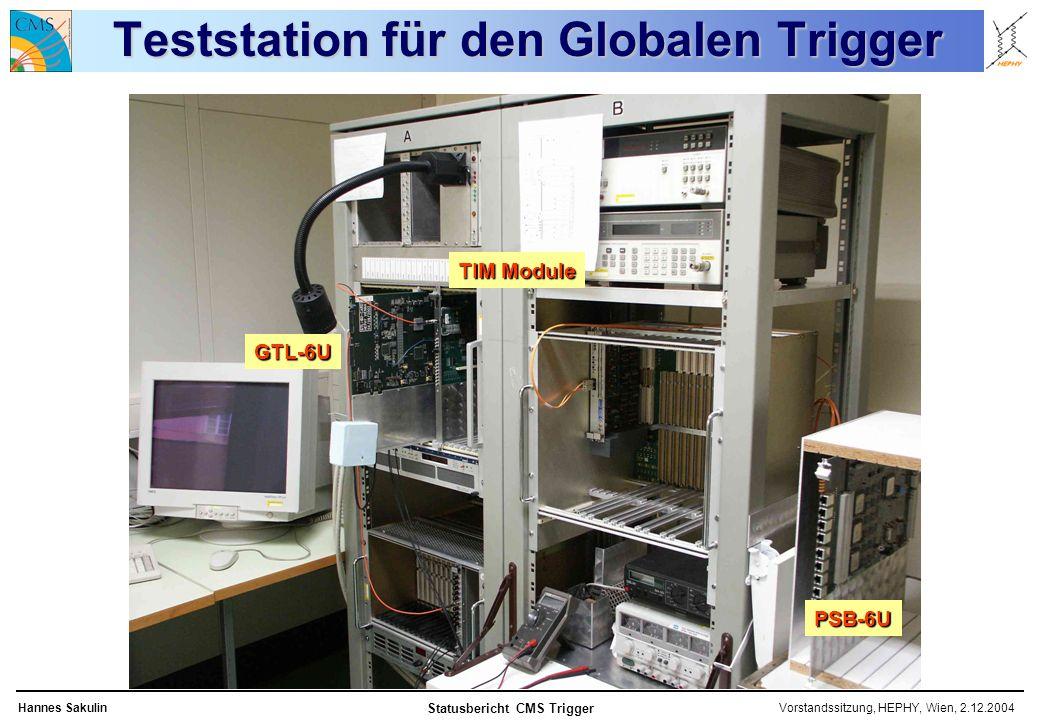 Vorstandssitzung, HEPHY, Wien, 2.12.2004Hannes Sakulin Statusbericht CMS Trigger Teststation für den Globalen Trigger TIM Module GTL-6U PSB-6U