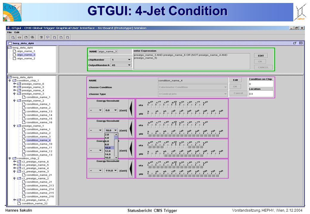 Vorstandssitzung, HEPHY, Wien, 2.12.2004Hannes Sakulin Statusbericht CMS Trigger GTGUI: 4-Jet Condition