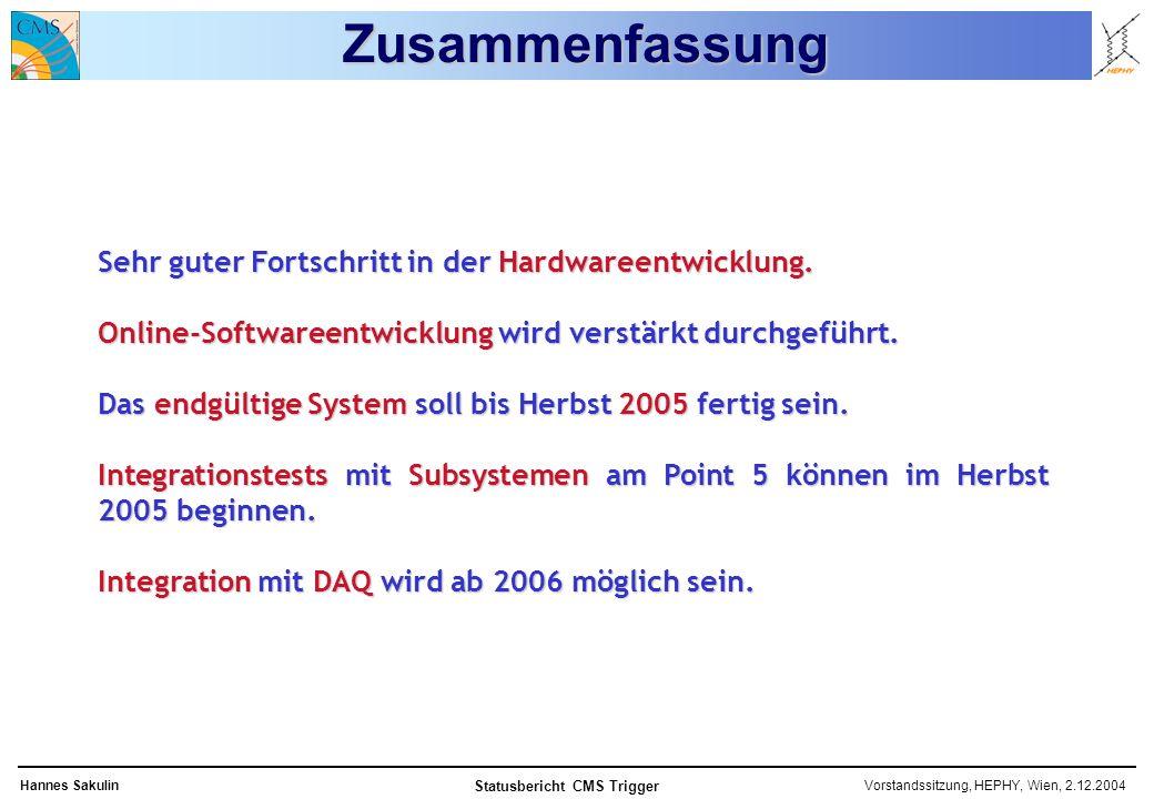 Vorstandssitzung, HEPHY, Wien, 2.12.2004Hannes Sakulin Statusbericht CMS Trigger Zusammenfassung Sehr guter Fortschritt in der Hardwareentwicklung.