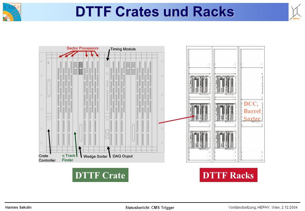 Vorstandssitzung, HEPHY, Wien, 2.12.2004Hannes Sakulin Statusbericht CMS Trigger DTTF Crates und Racks DTTF CrateDTTF Racks DCC, Barrel Sorter