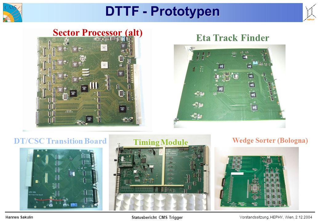 Vorstandssitzung, HEPHY, Wien, 2.12.2004Hannes Sakulin Statusbericht CMS Trigger Sector Processor (alt) Timing Module Wedge Sorter (Bologna) DT/CSC Transition Board Eta Track Finder DTTF - Prototypen