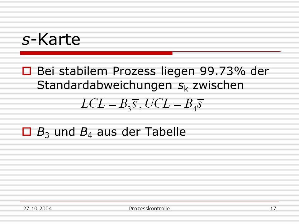 27.10.2004Prozesskontrolle17 s-Karte Bei stabilem Prozess liegen 99.73% der Standardabweichungen s k zwischen B 3 und B 4 aus der Tabelle