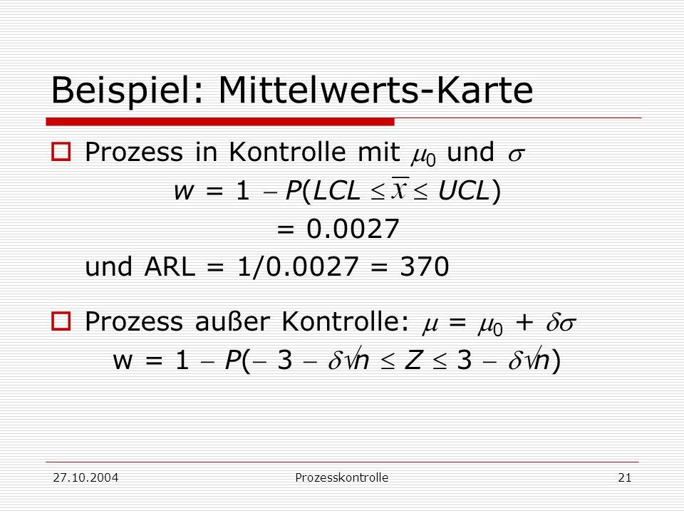 27.10.2004Prozesskontrolle21 Beispiel: Mittelwerts-Karte Prozess in Kontrolle mit 0 und w = 1 P(LCL UCL) = 0.0027 und ARL = 1/0.0027 = 370 Prozess außer Kontrolle: = 0 + w = 1 P( 3 n Z 3 n)