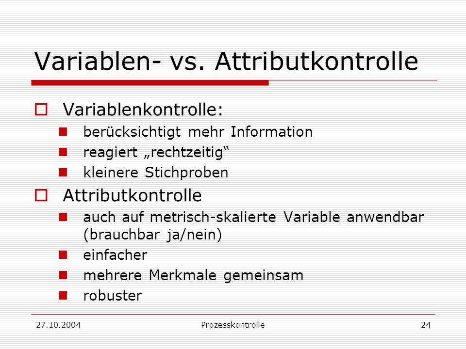 27.10.2004Prozesskontrolle24 Variablen- vs.