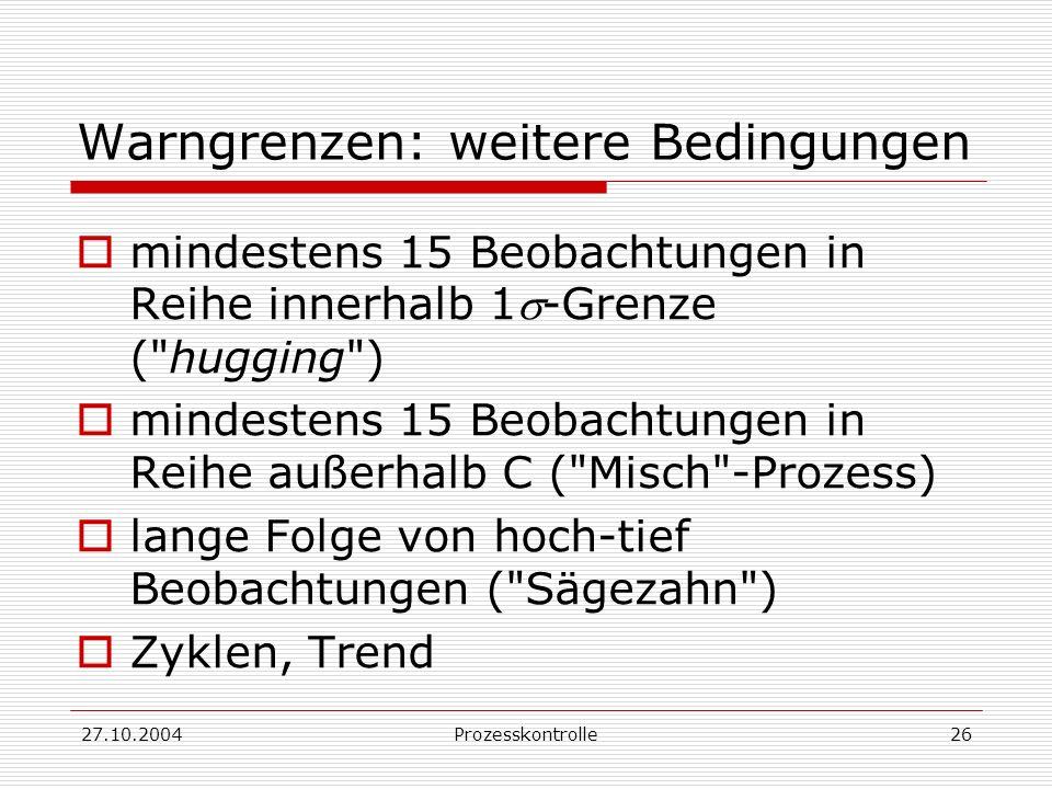 27.10.2004Prozesskontrolle26 Warngrenzen: weitere Bedingungen mindestens 15 Beobachtungen in Reihe innerhalb 1-Grenze ( hugging ) mindestens 15 Beobachtungen in Reihe außerhalb C ( Misch -Prozess) lange Folge von hoch-tief Beobachtungen ( Sägezahn ) Zyklen, Trend