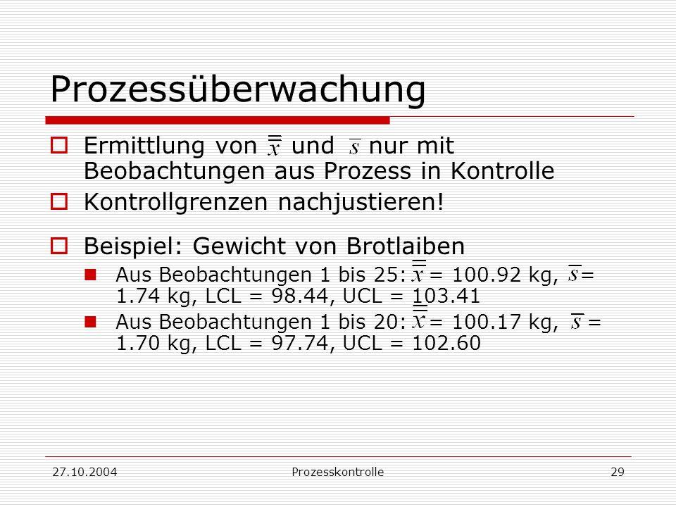 27.10.2004Prozesskontrolle29 Prozessüberwachung Ermittlung von und nur mit Beobachtungen aus Prozess in Kontrolle Kontrollgrenzen nachjustieren.