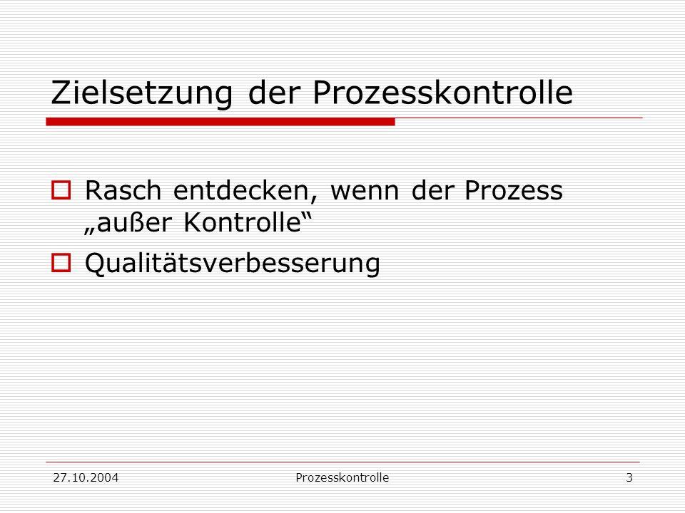 27.10.2004Prozesskontrolle14 Beispiel: Mittelwerts-Karte nach zGWS gilt (näherungsweise): bei stabilem Prozess liegen 99.73% der Mittelwerte im Intervall Ersetzen von durch, durch gibt