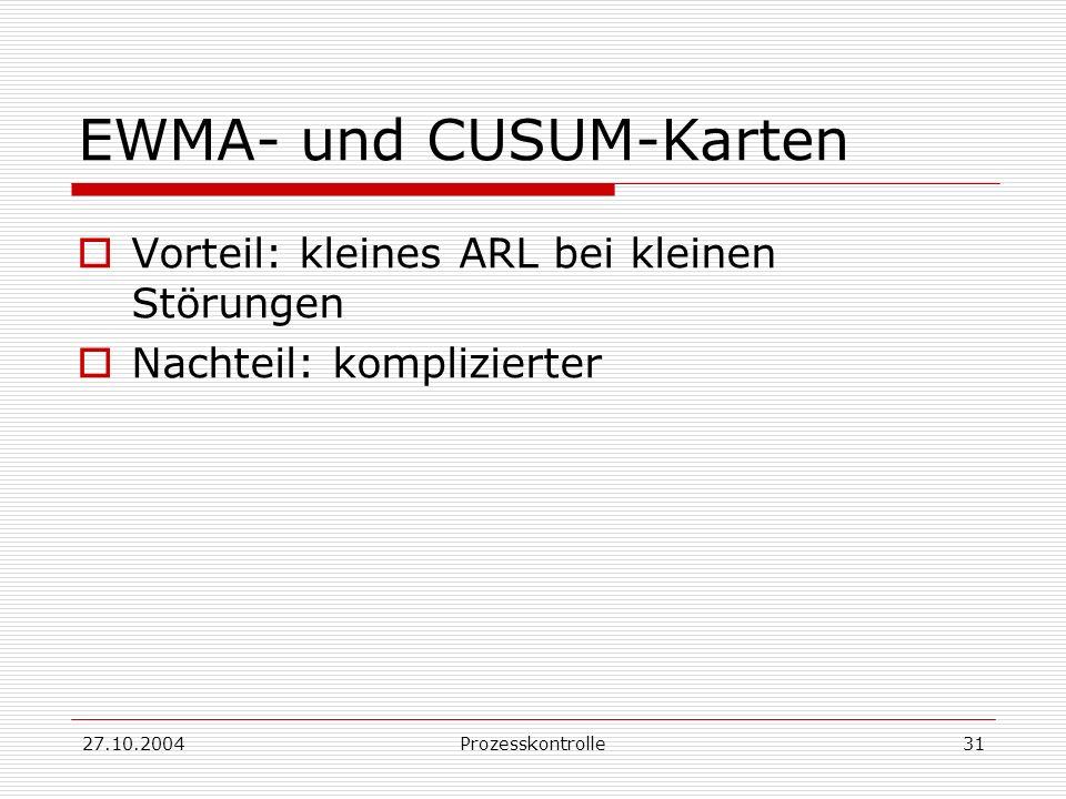 27.10.2004Prozesskontrolle31 EWMA- und CUSUM-Karten Vorteil: kleines ARL bei kleinen Störungen Nachteil: komplizierter
