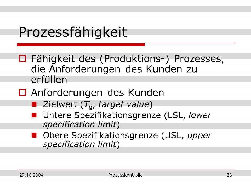 27.10.2004Prozesskontrolle33 Prozessfähigkeit Fähigkeit des (Produktions-) Prozesses, die Anforderungen des Kunden zu erfüllen Anforderungen des Kunden Zielwert (T g, target value) Untere Spezifikationsgrenze (LSL, lower specification limit) Obere Spezifikationsgrenze (USL, upper specification limit)