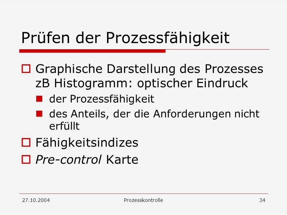 27.10.2004Prozesskontrolle34 Prüfen der Prozessfähigkeit Graphische Darstellung des Prozesses zB Histogramm: optischer Eindruck der Prozessfähigkeit des Anteils, der die Anforderungen nicht erfüllt Fähigkeitsindizes Pre-control Karte