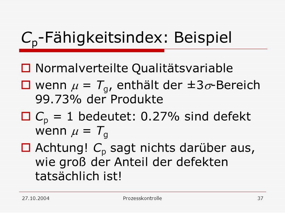 27.10.2004Prozesskontrolle37 C p -Fähigkeitsindex: Beispiel Normalverteilte Qualitätsvariable wenn = T g, enthält der ±3-Bereich 99.73% der Produkte C p = 1 bedeutet: 0.27% sind defekt wenn = T g Achtung.
