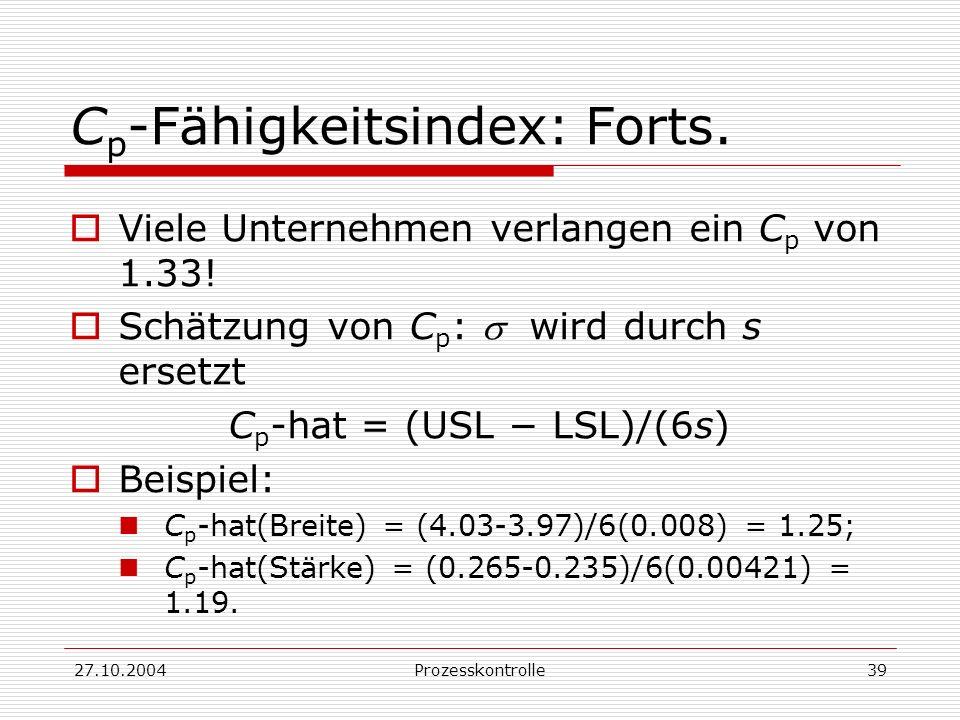 27.10.2004Prozesskontrolle39 C p -Fähigkeitsindex: Forts.