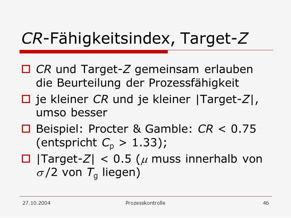 27.10.2004Prozesskontrolle46 CR-Fähigkeitsindex, Target-Z CR und Target-Z gemeinsam erlauben die Beurteilung der Prozessfähigkeit je kleiner CR und je kleiner |Target-Z|, umso besser Beispiel: Procter & Gamble: CR 1.33); |Target-Z| < 0.5 ( muss innerhalb von/2 von T g liegen)