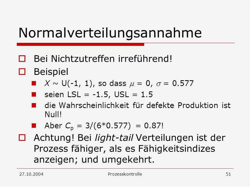 27.10.2004Prozesskontrolle51 Normalverteilungsannahme Bei Nichtzutreffen irreführend.