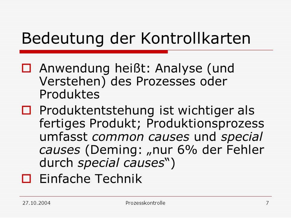 27.10.2004Prozesskontrolle8 Anwendung der Kontrollkarte Das Beantworten der zu lösenden Fragen gibt wichtige Einsichten: Was (welche Charakteristika) soll kontrolliert werden.