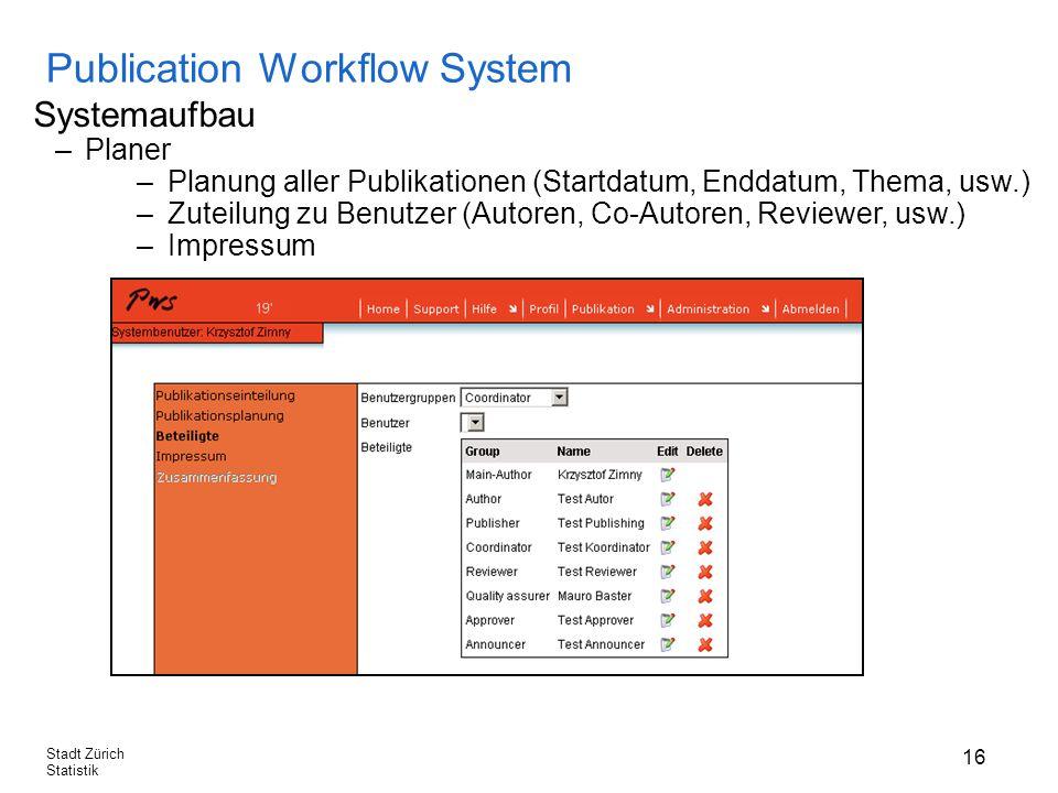 16 Stadt Zürich Statistik Publication Workflow System Systemaufbau –Planer –Planung aller Publikationen (Startdatum, Enddatum, Thema, usw.) –Zuteilung zu Benutzer (Autoren, Co-Autoren, Reviewer, usw.) –Impressum