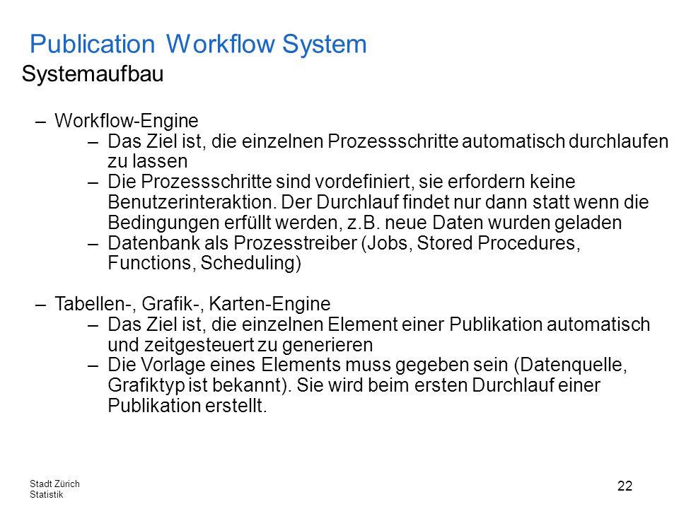 22 Stadt Zürich Statistik Publication Workflow System Systemaufbau –Workflow-Engine –Das Ziel ist, die einzelnen Prozessschritte automatisch durchlaufen zu lassen –Die Prozessschritte sind vordefiniert, sie erfordern keine Benutzerinteraktion.