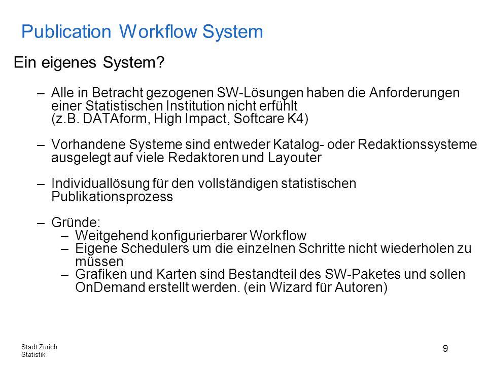 9 Stadt Zürich Statistik Publication Workflow System Ein eigenes System.