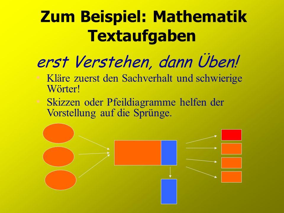 Zum Beispiel: Mathematik Textaufgaben erst Verstehen, dann Üben! Kläre zuerst den Sachverhalt und schwierige Wörter! Skizzen oder Pfeildiagramme helfe