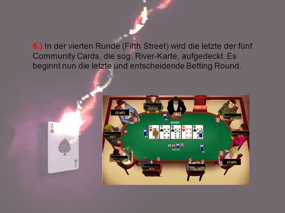6.) In der vierten Runde (Fifth Street) wird die letzte der fünf Community Cards, die sog. River-Karte, aufgedeckt. Es beginnt nun die letzte und ents
