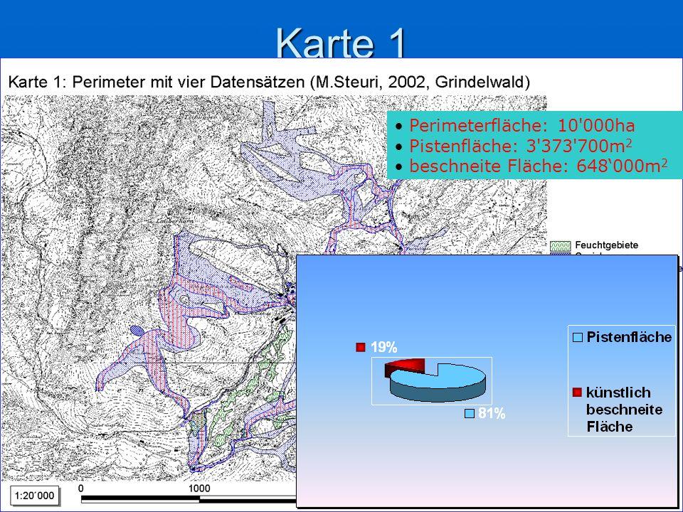 Karte 1 Perimeterfläche: 10 000ha Pistenfläche: 3 373 700m 2 beschneite Fläche: 648000m 2