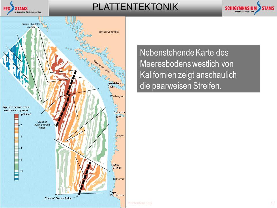 PLATTENTEKTONIK Plattentektonik15 Beweise Nebenstehende Karte des Meeresbodens westlich von Kalifornien zeigt anschaulich die paarweisen Streifen.
