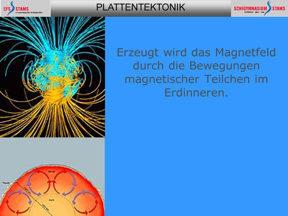 PLATTENTEKTONIK Plattentektonik20 Erzeugt wird das Magnetfeld durch die Bewegungen magnetischer Teilchen im Erdinneren.