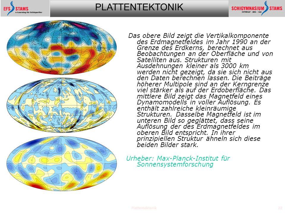 PLATTENTEKTONIK Plattentektonik22 Das obere Bild zeigt die Vertikalkomponente des Erdmagnetfeldes im Jahr 1990 an der Grenze des Erdkerns, berechnet aus Beobachtungen an der Oberfläche und von Satelliten aus.