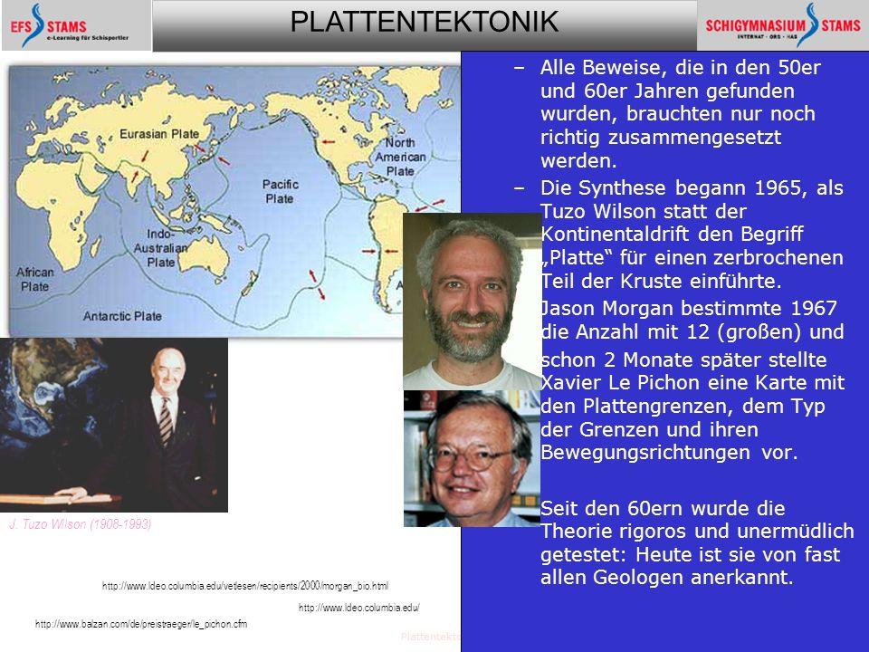 PLATTENTEKTONIK Plattentektonik34 –Alle Beweise, die in den 50er und 60er Jahren gefunden wurden, brauchten nur noch richtig zusammengesetzt werden. –