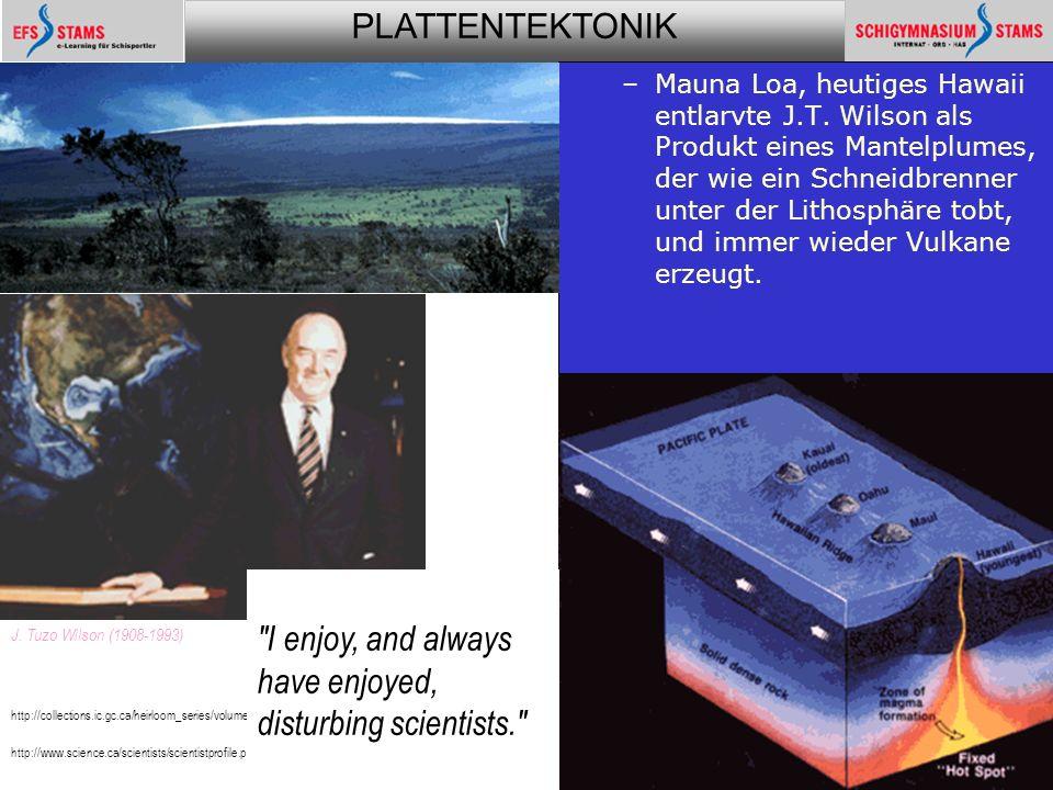 PLATTENTEKTONIK Plattentektonik35 –Mauna Loa, heutiges Hawaii entlarvte J.T.