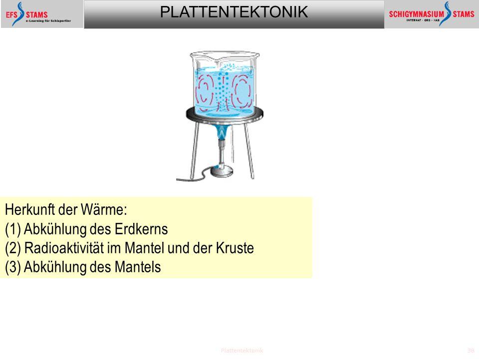 PLATTENTEKTONIK Plattentektonik38 Herkunft der Wärme: (1) Abkühlung des Erdkerns (2) Radioaktivität im Mantel und der Kruste (3) Abkühlung des Mantels