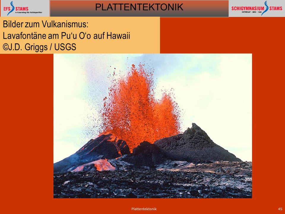 PLATTENTEKTONIK Plattentektonik45 Bilder zum Vulkanismus: Lavafontäne am Puu Oo auf Hawaii ©J.D. Griggs / USGS