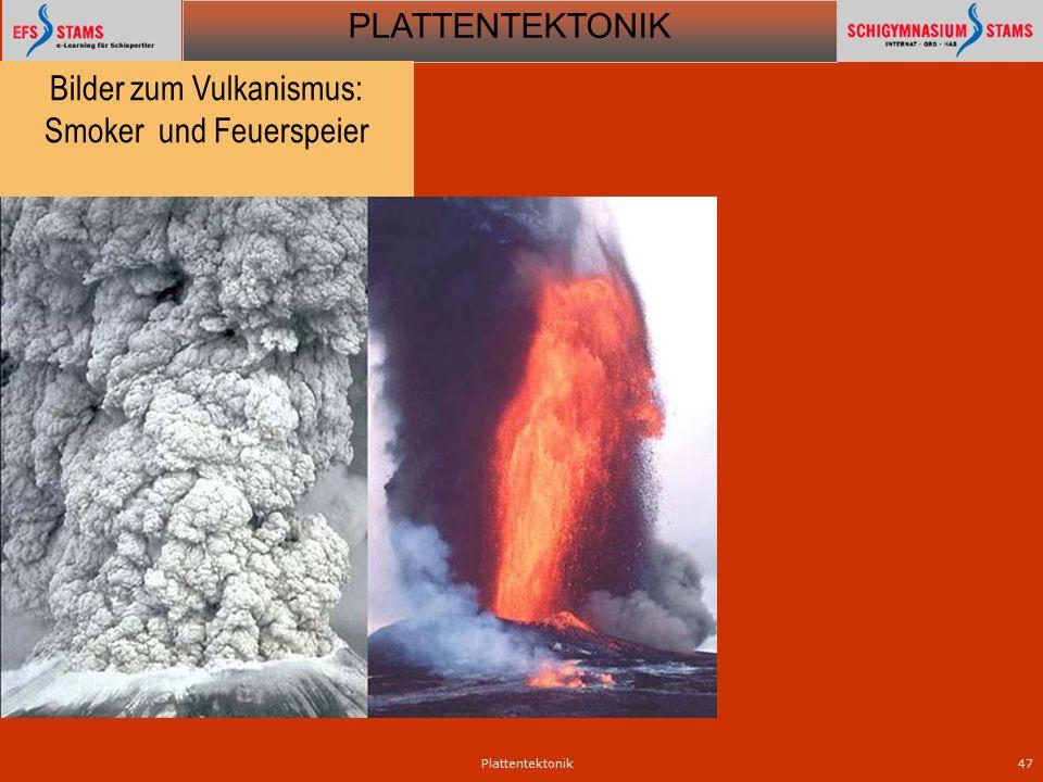 PLATTENTEKTONIK Plattentektonik47 Bilder zum Vulkanismus: Smoker und Feuerspeier